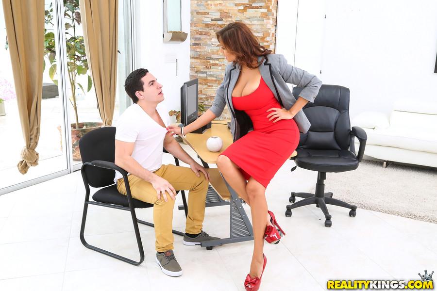 Big tits boss milf suck cock